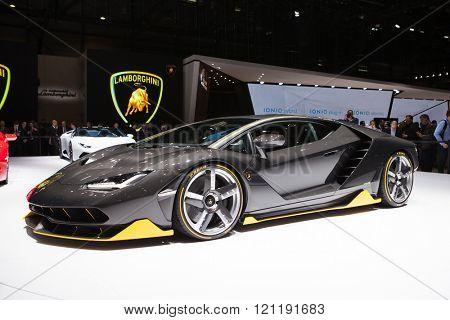 GENEVA, SWITZERLAND - MARCH 1: Geneva Motor Show on March 1, 2016 in Geneva, Lamborghini Centenario, front view