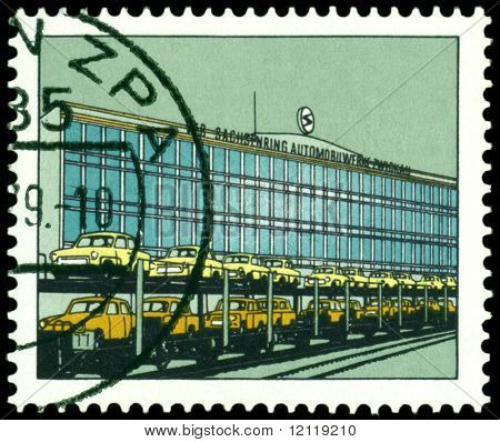 Vintage Postage Stamp. Building Of The Automobile Factory In Zwickau.