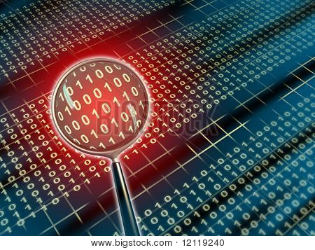 Binäre Daten unter die Lupe. Digitale Illustration.