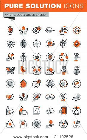 Set of thin line web icons for environment