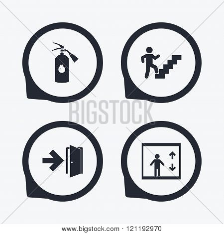 Emergency exit icons. Door with arrow sign.