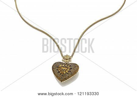 necklace heart in white background