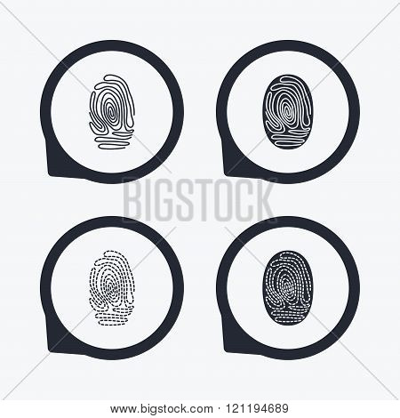 Fingerprint icons. Identification signs.