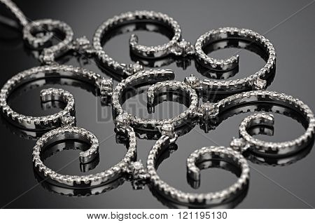 necklace diamonds in black background