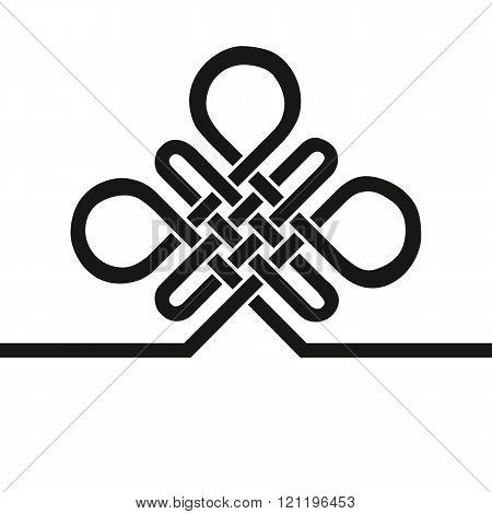 Auspicious Endless knot.Buddhist symbol.Black template