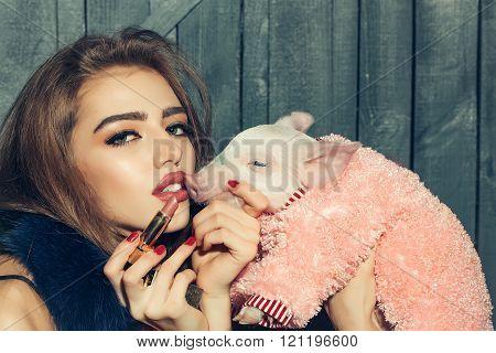 Girl And Lipstick
