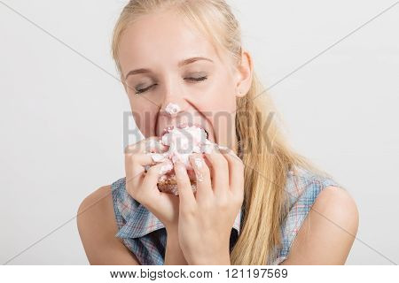 Girl Eats Sweet Dessert