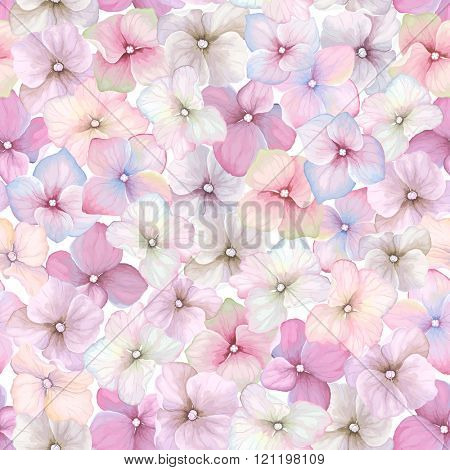 Inflorescence Hydrangea randomly arranged in seamless pattern, vector illustration in vintage watercolor style.
