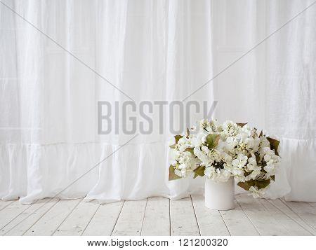 Window Design. White Curtains, Vase With Flowers On The Wooden Floor
