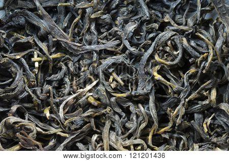 Tea dry leaves extreme macro image
