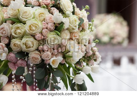 Beautiful flowers on table in wedding day.