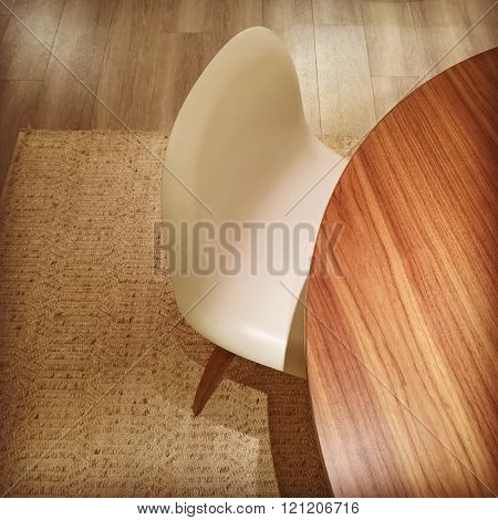 Round Table And White Stylish Chair