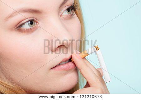 Girl Break Down Cigarette.