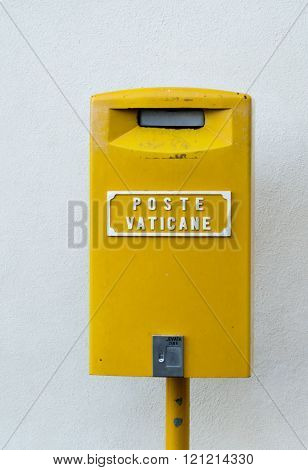 Yellow postbox of the Vatican Postal Servive in the center of Europe, Italy, Rome and Vatican