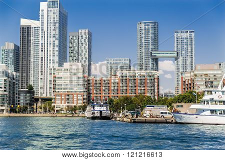 Beautiful view of downtown Toronto waterfront with modern nice building architecture near the lake O