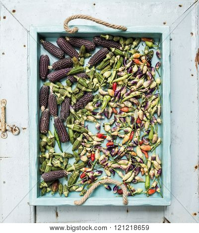 Okra,  spicy peppers and small black corns on blue wooden tray over light rustic backdrop, top view