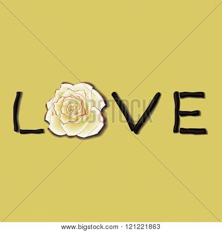 Design card with inscription LOVE. Vector illustration.