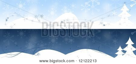 Day and night winter landscapes with christmas trees, abstract streaks, snow flakes, and sparkles