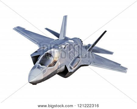 Angled view of a F35 jet aircraft