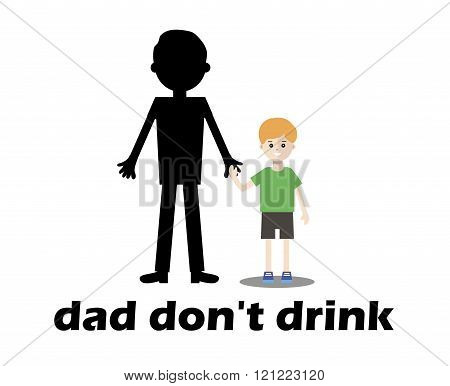 Smiling Boy Beside His Father An Alcoholic.