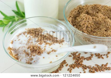 Flaxseed With Milk In A Bowl
