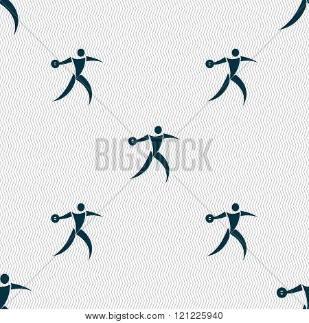 Discus Thrower Icon Sign. Seamless Pattern With Geometric Texture.