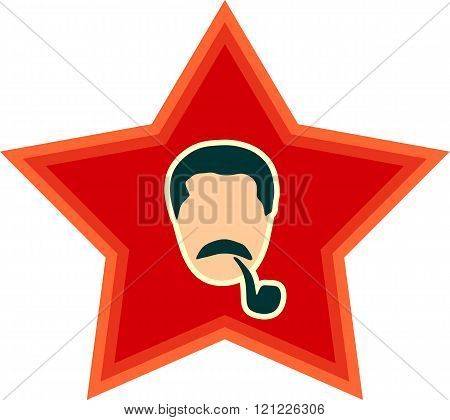 USSR - circa 1945: Vector portrait of Joseph Stalin. Soviet Union leader. Head on red star background