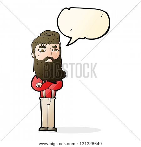 cartoon serious man with beard with speech bubble