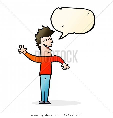 cartoon happy man waving with speech bubble