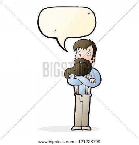 cartoon bearded hipster man with speech bubble