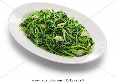 stir fried pea shoots with garlic, chinese cuisine