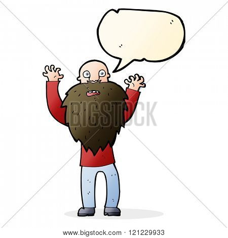 cartoon frightened old man with beard with speech bubble