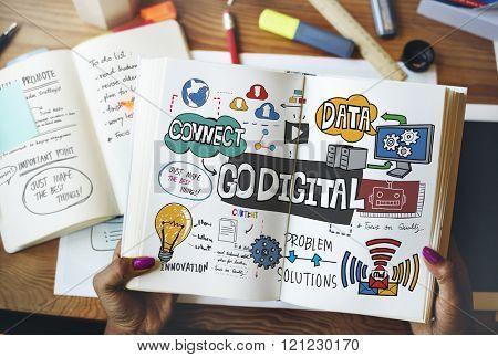 Go Digital Technology Information Network E-business Concept