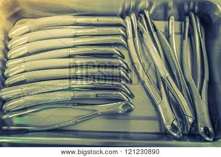 Dental tools  background ( Filtered image processed vintage effect. )
