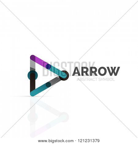 Linear arrow abstract logo, connected multicolored segments of lines in directional pointer figure