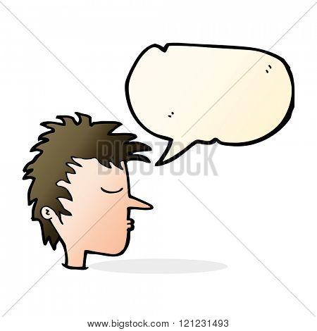 cartoon male face with speech bubble