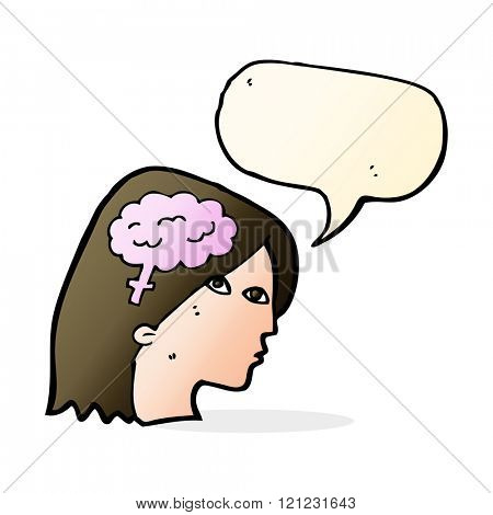 cartoon female head with brain symbol with speech bubble