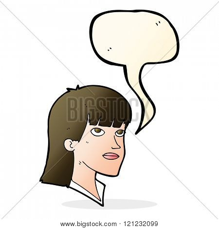 cartoon serious woman with speech bubble