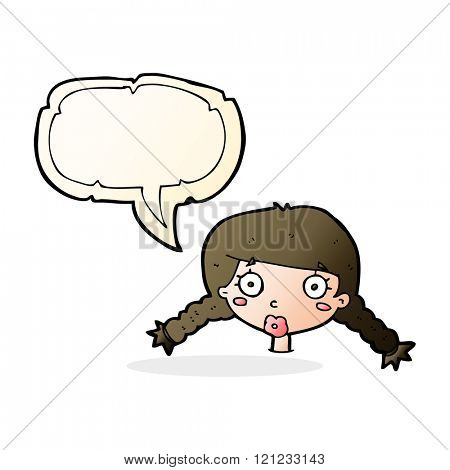 cartoon confused female face with speech bubble
