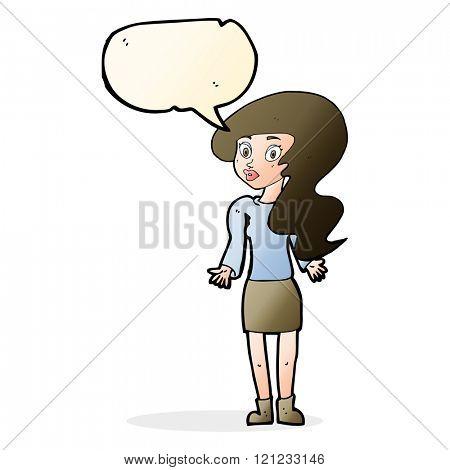 cartoon woman shrugging shoulders with speech bubble