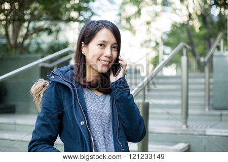 Woman make a call at Hong Kong