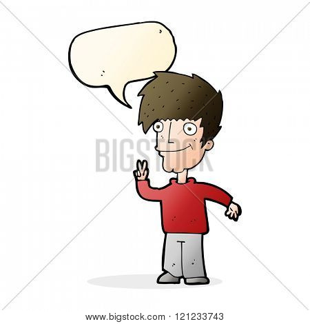 cartoon man giving peace sign with speech bubble