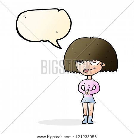 cartoon sly woman with speech bubble