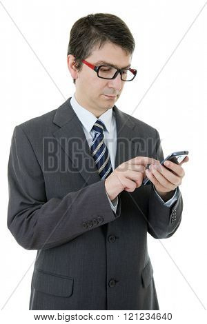 young businessman working on the phone, isolated