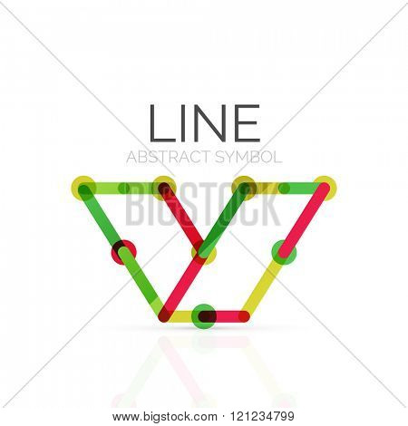 Linear abstract logo, connected multicolored segments of lines geometrical figure
