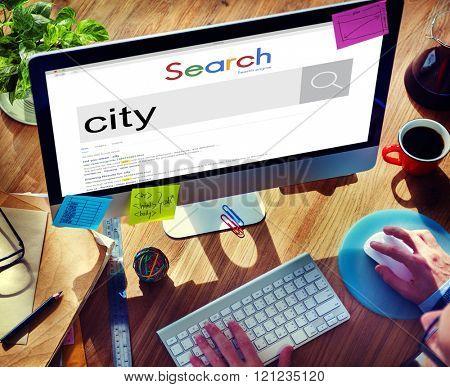 City Business District Place Location Concept