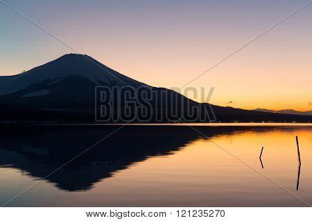 Mt. Fuji and lake yamanaka at sunset