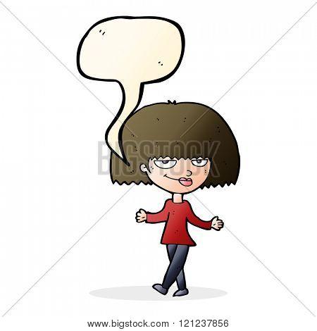 cartoon smug looking woman with speech bubble