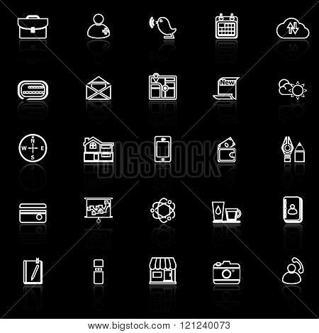Mobile line icons with reflect on black stock vector