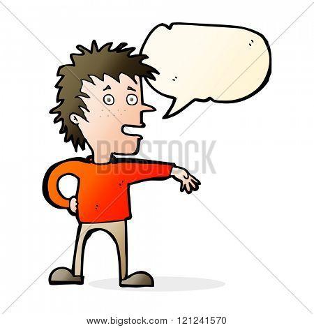 cartoon man making dismissive gesture with speech bubble
